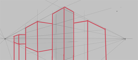 Drawing Lines Using Html : Cityscape quick sketch using two points perspective