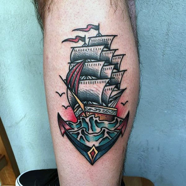 70 Traditional Anchor Tattoo Designs For Men Vintage Ideas