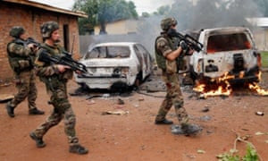 French troops patrol in Bangui, Central African Republic, December 2013.