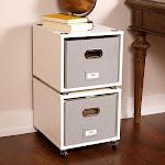 Birdrock Home 2-Pack Rolling File Storage Cube Set, White