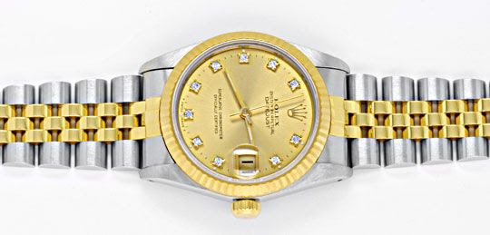 Original-Foto 1, ROLEX DATEJUST MEDIUM STAHLGOLD JUBILE DIAMANTEN TOPUHR, U1027