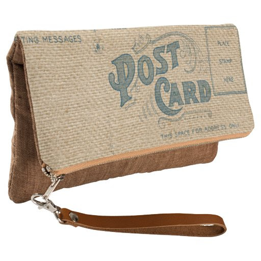 Vintage burlap Postcard Mark Clutch