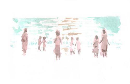 Sunset with schoolchildren