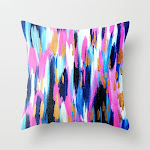 """Spring Golden - Pink And Navy Abstract Couch Throw Pillow by Allyson Johnson - Cover (16"""" x 16"""") with pillow insert - Indoor Pillow"""