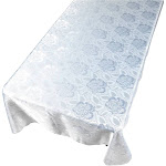 Carnation Home Fashions Rose Damask Fabric Tablecloth in White, Size 52inchx70inch