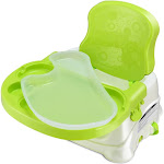 Comfort Folding Booster Seat 3 Height Adjustments Baby Toddlers With Safety Belt-Green