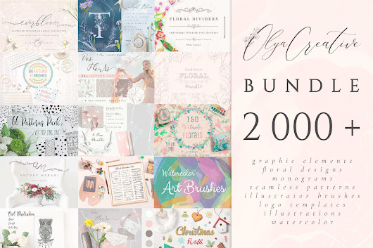 2000+ Floral Designs, Monograms, Patterns, Illustrator Brushes, Logo Templates, Watercolors & More - only $9!