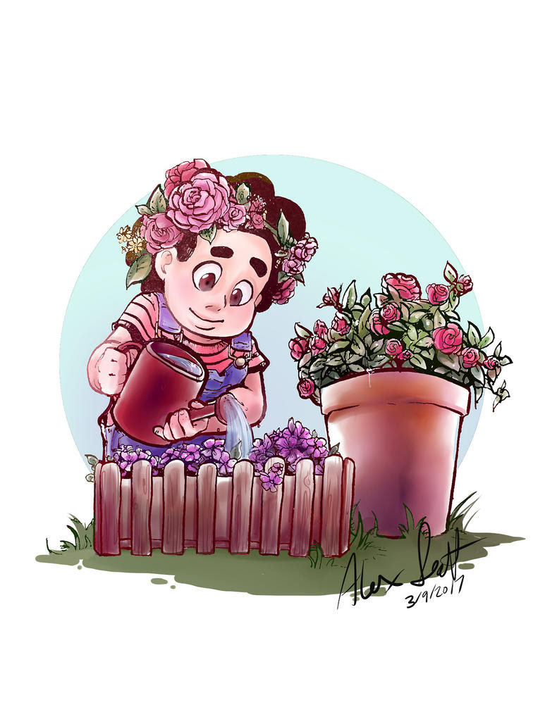 Steven makes a floral appearance roses, flower crown and all! This is actually my second best selling print lately, Peridot definitely has him beaten though.
