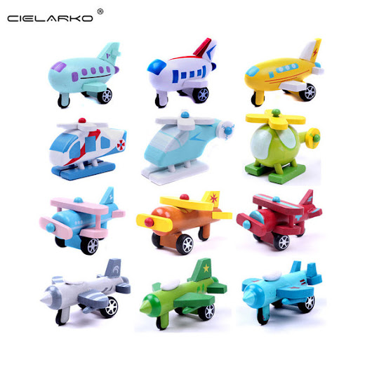 Toy Wooden 12pcs/set mini Aircraft and Vehicles