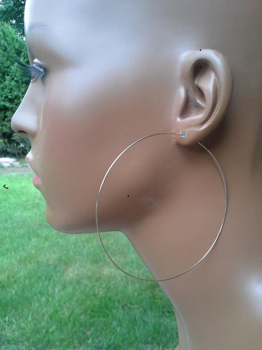 Stainless steel hoop earrings 3 inch ultra thin wire hypoallergenic open threader dangle Buy 2 + 3rd pair FREE 635