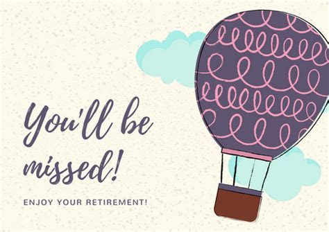Colorful Hot Air Balloon Retirement Card   Templates by Canva