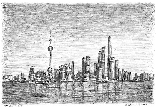 Shanghai skyline - Original drawings, prints and limited editions by Stephen Wiltshire MBE