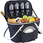 Picnic at Ascot Collapsible Insulated Picnic Basket for 4 - Navy