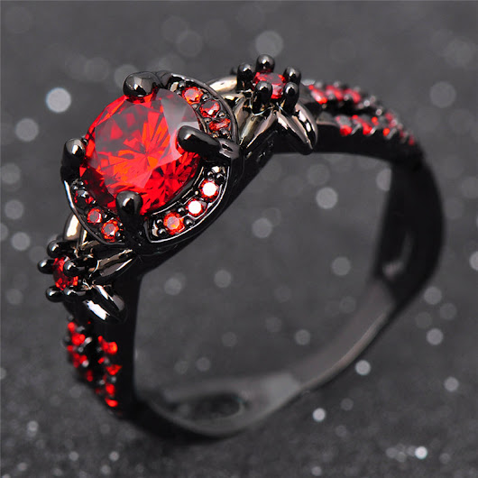 Luxury Titanium Ruby Ring