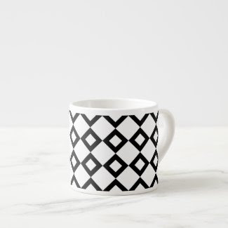 White and Black Diamond Pattern Espresso Mugs