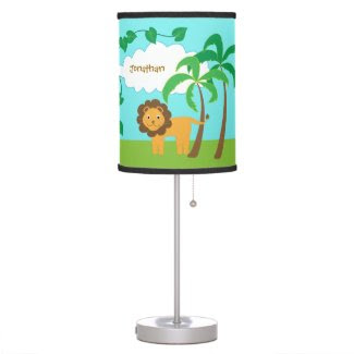 Lion in Jungle with Palm Trees Personalized Desk Lamps