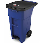 Rubbermaid 32 gal Rectangular Rollout Trash Can, Plastic, Blue 1971946