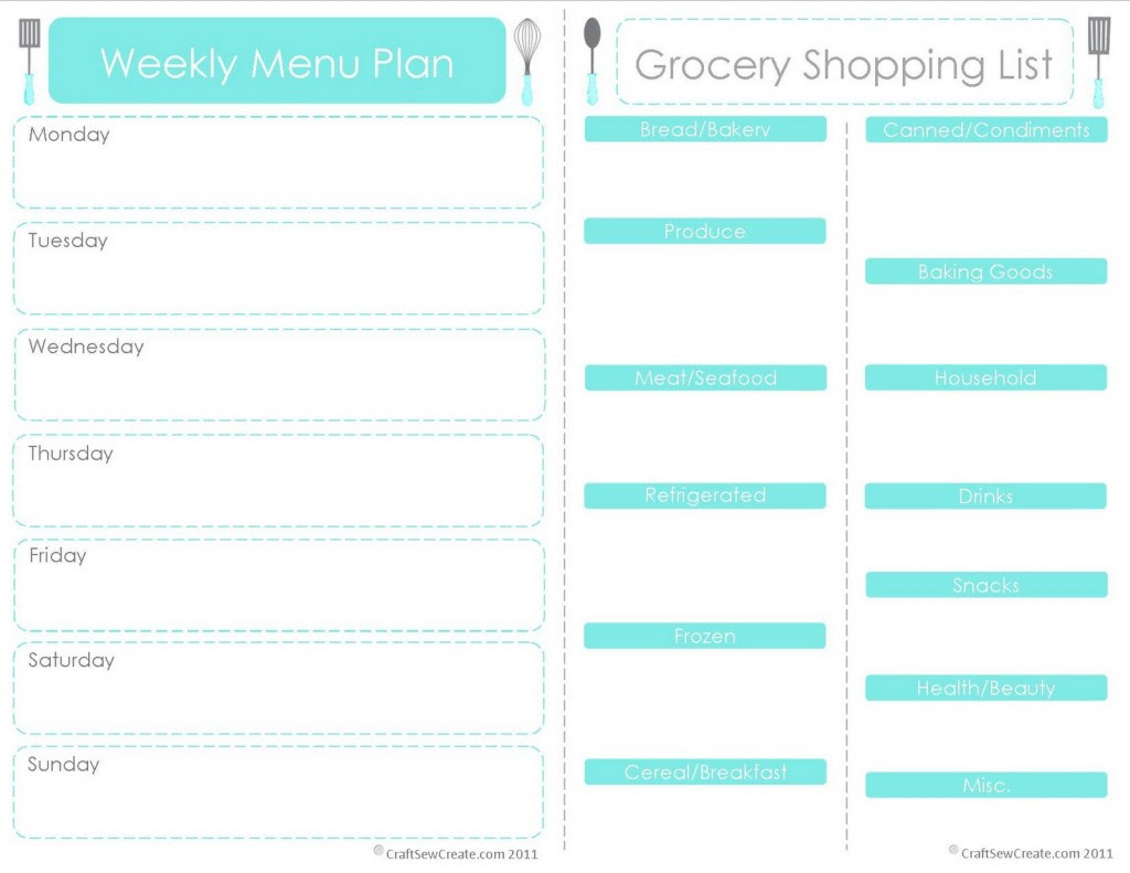 20 Free Menu Planner Printables | Fab N