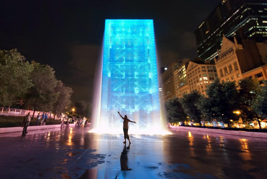 Blue Monolith Crown Fountain Millennium Park Bill