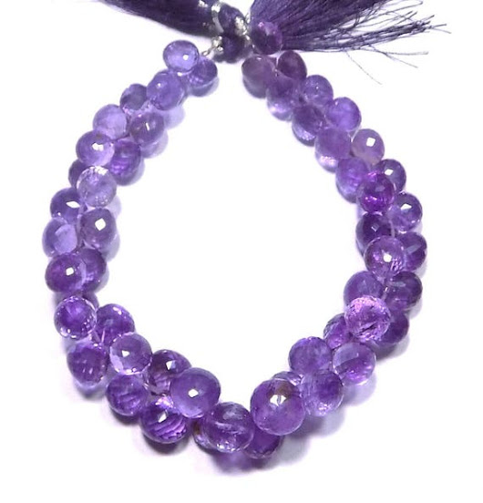 Natural Amethyst Handmade Faceted Onion Loose Beads 8-10mm 10