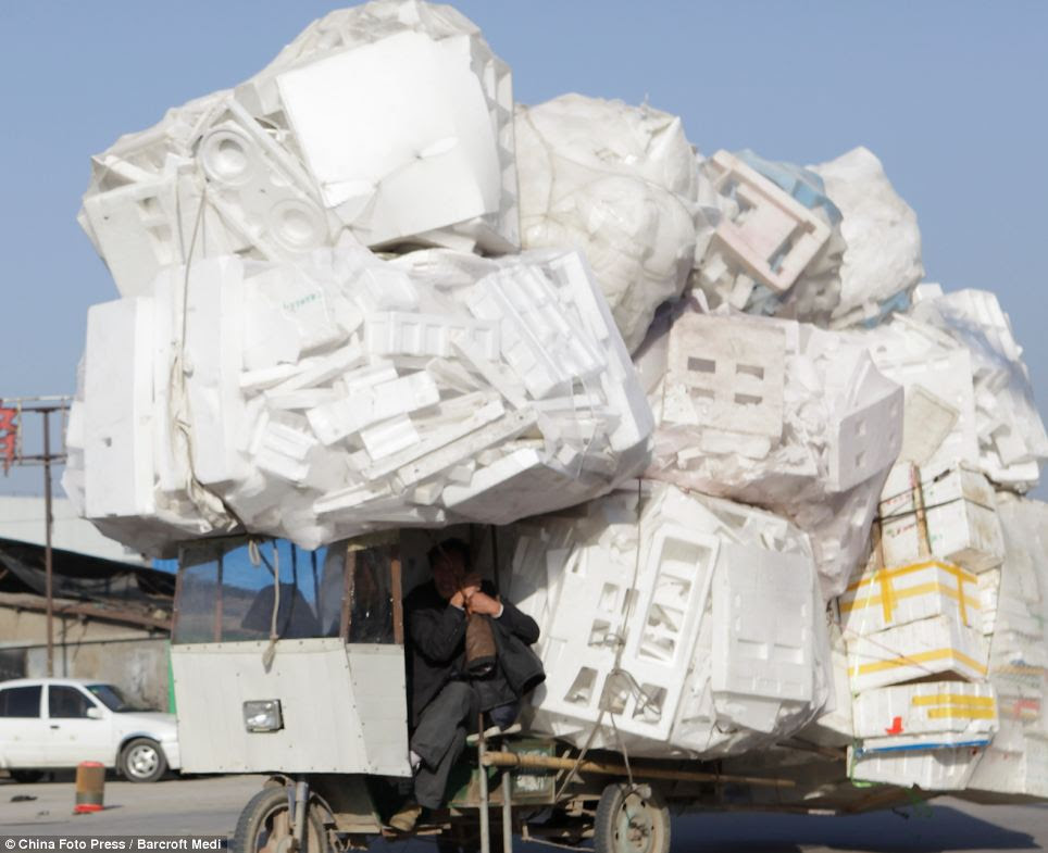 A mound of polystyrene boxes on a street in Xi'an