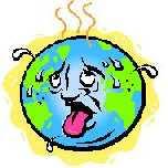 a cartoon of the planet as an overheated human face
