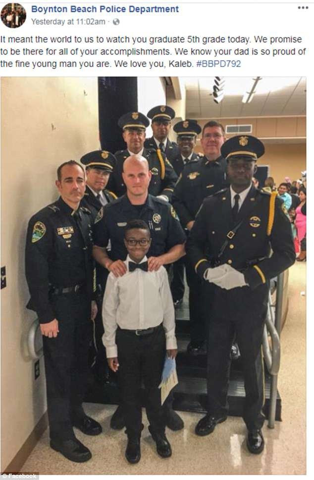 The Boynton Beach Police posted several photos of the day on their Facebook page, including all of them posing with the graduate