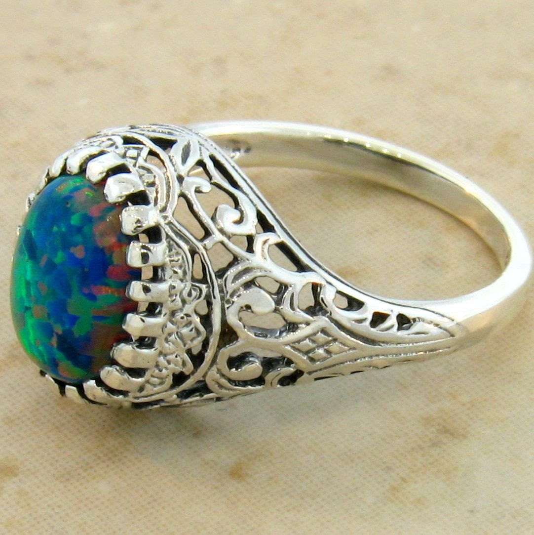 black opal 925 sterling silver antique filigree design ring size