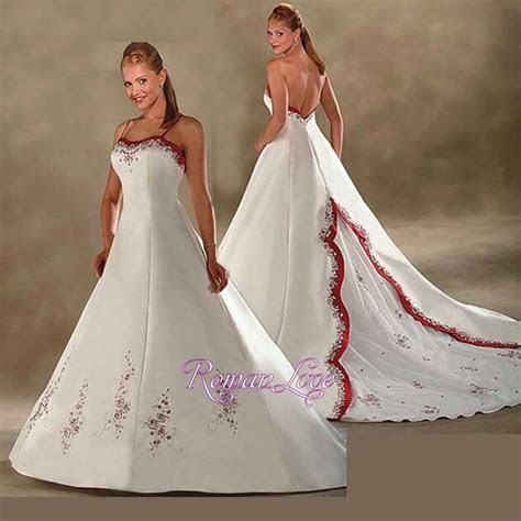 Classic Wedding Dress A line Red White Satin Spaghetti