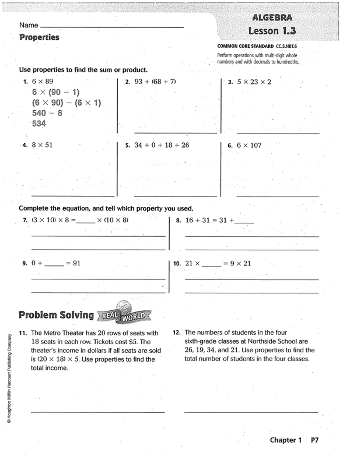 Go Math Grade 5 Answer Key Homework Book Chapter 1 - Book ...