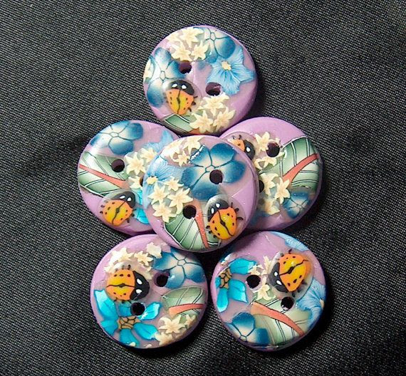 Lavender Ladybug Buttons Blue Flowers Polymer Clay $7.50 by beckysuecreations.etsy.com