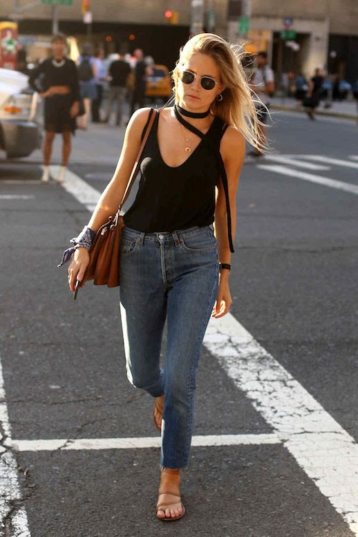 Le Fashion Blog Street Style Nyfw Blonde Metal Rim Sunglasses Choker Tank Top Leather Bag Bandana Tied At The Wrist Cropped Jeans Strappy Flat Sandals Via Fashionista
