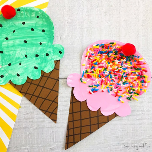 Paper Plate Ice Cream Craft - Summer Craft Idea for Kids - Easy Peasy and Fun