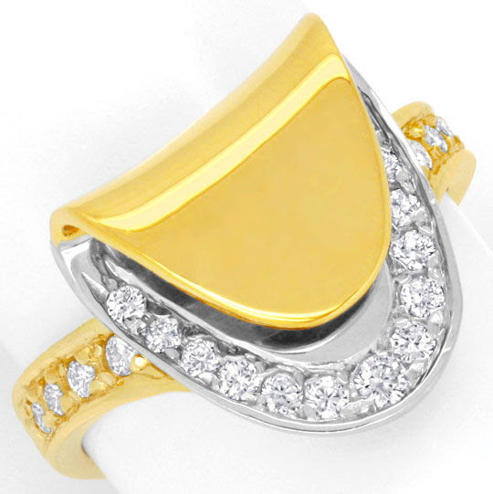 Original-Foto 2, DESIGN-DIAMANTRING, 21 BRILLANTEN GELB-WEISSGOLD LUXUS!, S6713
