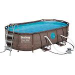 Bestway 14ft x 8ft x 40 inch Power Steel Swim Vista Swimming Pool Set with Pump