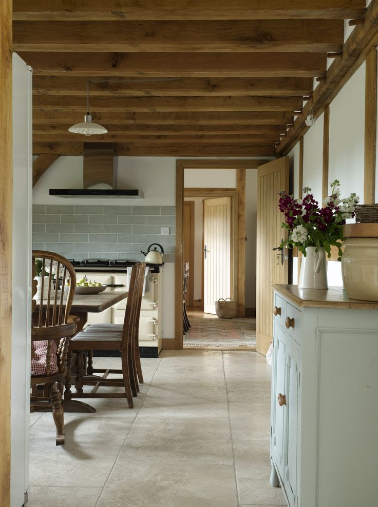 Country kitchen... oak beams, cream aga and touches of grey blue
