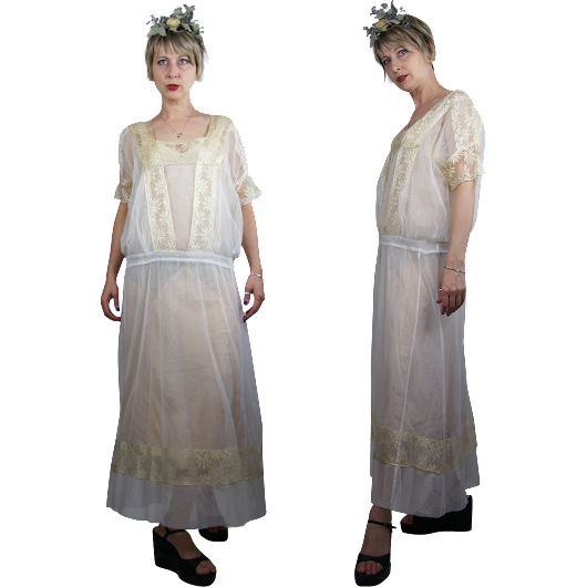 1920s Ivory Silk Net with Lace Dress from Noble Vintage Clothier at Ruby Lane
