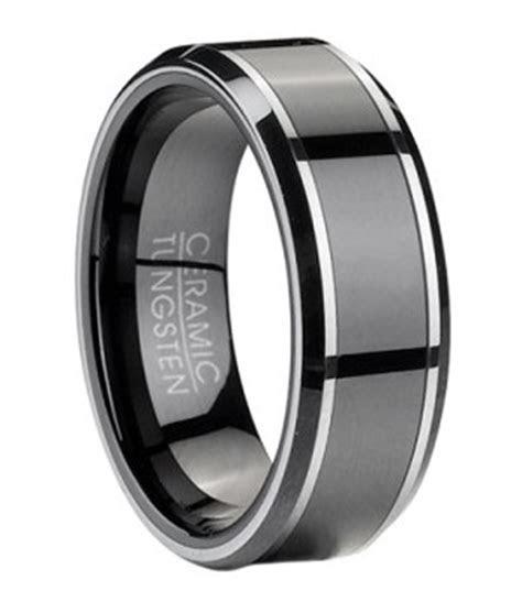 Men's Tungsten Wedding Ring with Black Ceramic Inlay