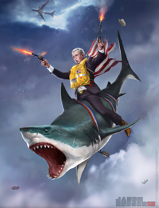 Illustration of George W. Bush Skydiving Out of Air Force One While Riding on a Deadly Shark and Shooting His Pistols