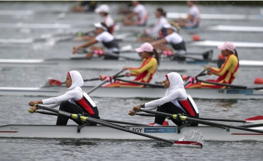 Egypt's Sara Mohamed Baraka and Fatma Rashed row in the women's lightweight double sculls repechage at Eton Dorney during the London 2012 Olympic Games