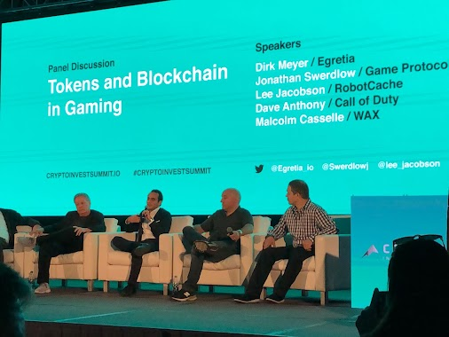 "The Rules Of The Game  The ""Tokens and Blockchain in Gaming"" panel at the Crypto Invest Summit held ..."