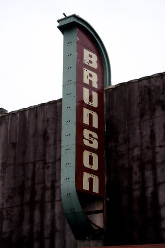 view of brunson neon sign