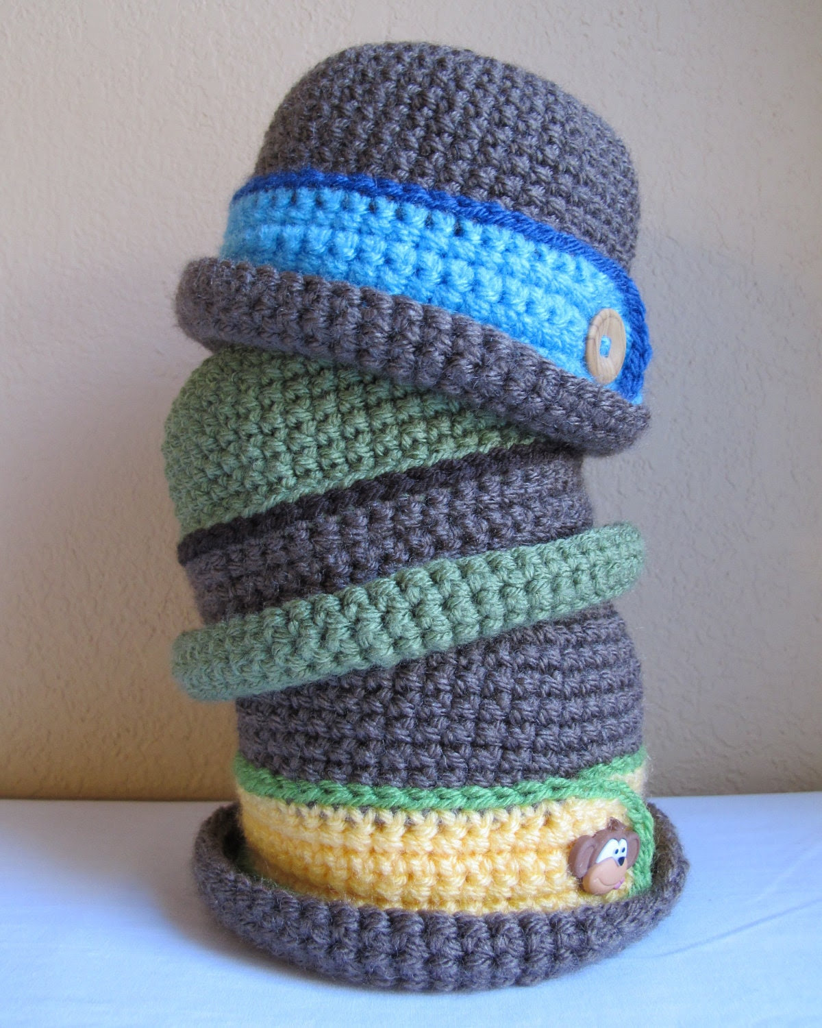 CROCHET PATTERN - Downtown Boy - a beanie/bucket hat with button in 8 sizes (Infant - Adult L)