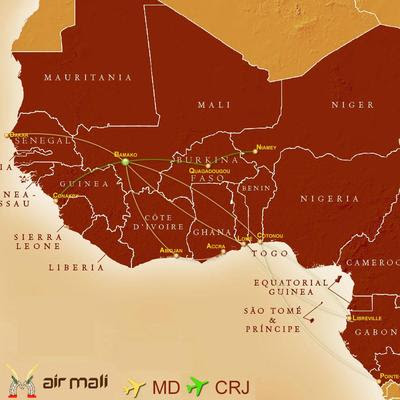 Air Mali's Africa Network [Click to Enlarge]
