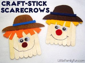 Ha! I love these Kooky Craft Stick Scarecrows.They're such cute, simple fall crafts for kids!