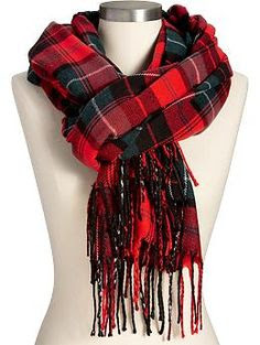 Classic Red Tartan Plaid Flannel Scarf from Old Navy, $15. Perfect and affordable for Christmas/winter.