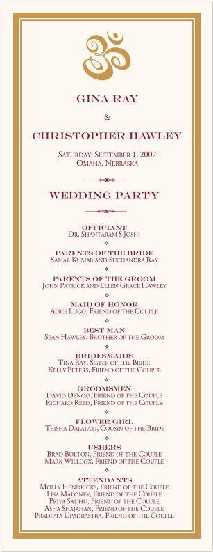 Ganesha Indian Wedding Program Interfaith Wedding Ceremony