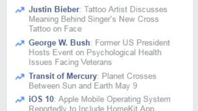 Facebook's algorithms collate the day's top trending news.