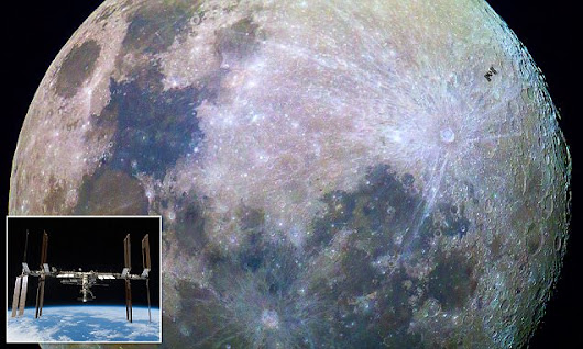 Can you spot the space station? Amazing image of ISS and the moon