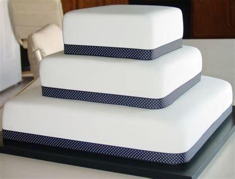 White Fondant Square Wedding Cake, Black With White Polka